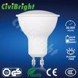 proyector liso de la lámpara de la curva LED de la cubierta de la PC de Dimmable del bulbo de 6W GU10 LED