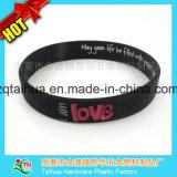 Wristband famoso del silicone del nero di marca con il formato adulto