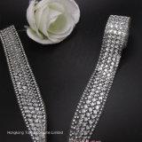 Maglia di cristallo poco costosa del Rhinestone della maglia dello strato 3D della catena di cristallo del diamante (quadrato TS-019)