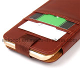 Caja del teléfono móvil del cuero de la capa superior con las ranuras para tarjeta conocidas