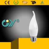 Vela de C37 6W E27 6000k LED atada