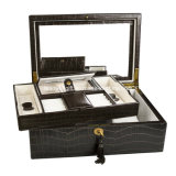 Caja de lujo del Leatherette de la joyería del modelo del cocodrilo de Brown