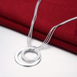 Eenvoudige Halsband Twee van de Keten van de Rij Mutil de Ronde Halsband van het Staal van de Tegenhanger van de Vorm Echte