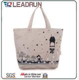 Sac à provisions non-tissé de main de toile de coton de cuir de sac à provisions de sac à dos (X013)
