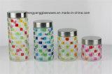 4 حاسوب رذاذ ألوان نسيج مربّع زجاجيّة تخزين ثبت مرطبان مع معلنة غطاء