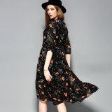 Vestido de noite elegante impresso floral das mulheres frouxas