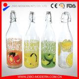 Il commercio all'ingrosso progetta lle bottiglie per il cliente di vetro della 1 bevanda di litro per bere