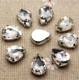 Waterdrop nähen auf Rhinestone mit Greifer-Einstellungs-Silber-Rückseiten-Acrylstein mit Metallgreifer (Schalter-Absinken 10*14mm)