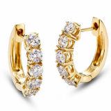 熱い販売の金によってめっきされる宝石類925の銀製のたがのイヤリング