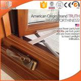 Marca de fábrica superior de silicona y EPDM sellador Ventana del marco americano con Manivela plegable de aluminio con revestimiento de madera maciza de roble