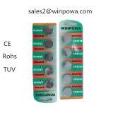 батарея клетки кнопки 10PCS 0% Hg Lr1154 алкалическая