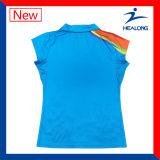 Healong kundenspezifische preiswerte Subliamtion Frauen-Tennis-Polo-Oberseite-T-Shirts