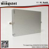 1200m2 Potente GSM / Dcs / WCDMA 900/1800 / 2100MHz impulsor de señal móvil con antena