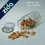 Tarro Pet Food Container Mason plástico con tapa de aluminio