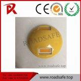 反射ガラス玉の白い陶磁器の交通安全のスタッド4インチの反射鏡の黄色の
