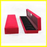 Caixa de presente retangular longa de veludo vermelho