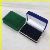Зеленая и голубая коробка подарка вспомогательного оборудования бархата прямоугольника
