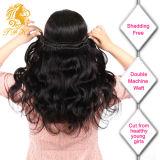 Объемная волна человеческих волос девственницы бразильянина 100% с закрытием шнурка