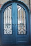 Portas de entrada exteriores do ferro feito das portas do vidro de chuva