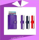 Caixa de cartão Pop-up automática do mini suporte seguro magro conservado em estoque do cartão do couro genuíno RFID da carteira