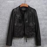 オートバイのためのColorfullの方法女性の本物のヒツジの革のジャケット