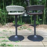 庭のテラスの藤のバースツール(FS-R002+FS-R003)を食事する現代屋外の旋回装置