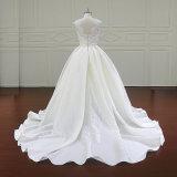 Причудливый красивейшее платье венчания Mikado длины пола шнурка
