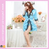 Lingerie sexy de Babydoll de kimono de femmes ouvertes soyeuses de vêtements de nuit avec le bord de lacet