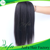 Cabelo humano preto natural do Virgin reto cambojano