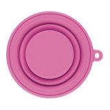 Чашка силикона прочного качества еды складывая с крышкой