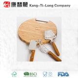 Conseil de découpage rond en bambou avec la poignée d'acier inoxydable