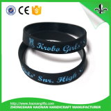 Tinta enchida Debossed do bracelete da borracha de silicone da forma