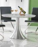 Tableau dinant de loisirs de marbre blancs ronds modernes d'acier inoxydable