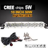 細いライトバーLEDのクリー語(10inch、50W、防水IP68)