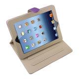 カラー対照AppleのiPadのための立場が付いている紫色PUの革箱