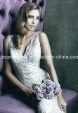 顧客用広がりのトレインの人魚またはトランペットの象牙またはピンクの花嫁衣装の優雅なレースの袖なしの低速の背部ウェディングドレス(夢100031)