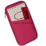 Pochette par la carte de crédit Pocket multi de support de passeport de carte de visite professionnelle de visite de voyage de polyester rouge
