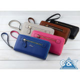 Womenのための革Long Clutch Purse Card Holder Case