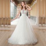 Vestido de casamento longo de Tulle do laço da luva do tampão (SA002)