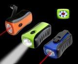 Lampen-Fackel des Portable-6 LED mit roter Laser-Dynamo-Nottaschenlampe manuell durchdrehen