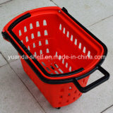 Loading pesante Supermarket Goods Shopping Plastic Handle Basket con Wheel