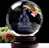 Bille en cristal claire personnalisée de sphère avec la gravure du laser 3D