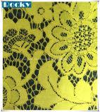 Dentelle en polie jaune en tissu fleur pour dentelle nuptiale