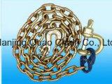 Corrente de ligação de aço do metal do transporte elevado do teste G50/G60/G70/G80 com ganchos