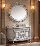 Шкаф тщеты ванной комнаты переклейки и твердой древесины установленный стеной (LZ-131)