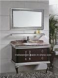 Gabinete de banheiro superior contrário do aço inoxidável de Brown