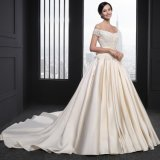 A Line Belt Appliques Cap Sleeve Flower Wedding Dress (SL-027)