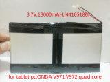 3.7V, 13000mAh, [44105186] Plib (batterie d'ion de lithium de polymère/L batterie Li-ion de G) pour la tablette PC ; Onda V971, faisceau de la quarte V972
