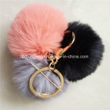 Luxuoso e Keyrings falsificados à moda da pele POM POM do coelho com corrente do metal