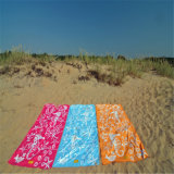 Essuie-main 100% de plage estampé par modèle coloré de velours de coton